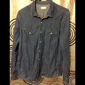 H&M Western Denim Shirt Sz M